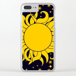 Sun & Stars Yellow Blue Space Astronomy Cosmic Clear iPhone Case