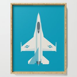 F-16 Falcon Fighter Jet Aircraft - Cyan Serving Tray