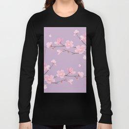 Cherry Blossom - Pale Purple Long Sleeve T-shirt