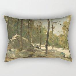Wooded View near Barbizon - Johan Hendrik Weissenbruch (1900) Rectangular Pillow