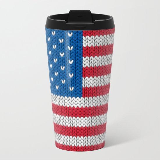 American Flag - knitted Metal Travel Mug