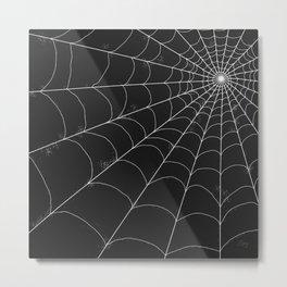 Spiderweb on Black Metal Print