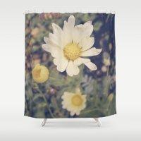 vintage flowers Shower Curtains featuring Vintage flowers by Herzensdinge