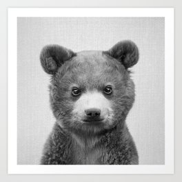 Baby Bear - Black & White Art Print
