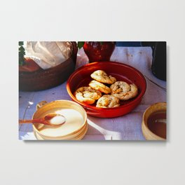 Fresh Pastry In A Ceramic Plate, Sweet Sauce And A Spoon Metal Print