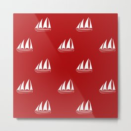 White Sailboat Pattern on red background Metal Print