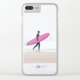 surfing beach vibes Clear iPhone Case