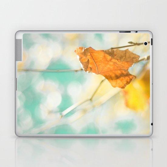 Gold Autumn Fall Leafs on Dreamy Blue Turquoise Vintage Retro Sky  Laptop & iPad Skin