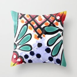 Colorful Talavera, Yellow Accent, Mexican Tile Design Throw Pillow