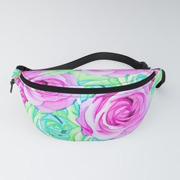 blooming rose texture pattern abstract background in pink and green Fanny Pack