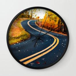 road in autumn Wall Clock