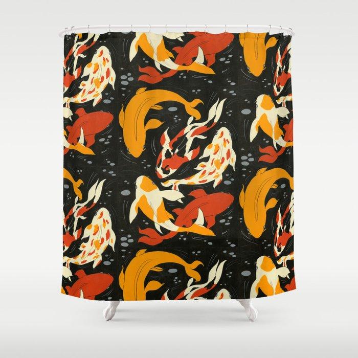 Koi In Black Water Shower Curtain