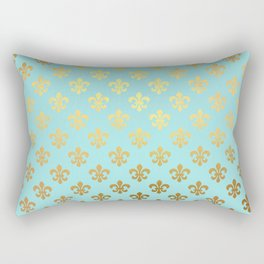 Royal gold ornaments on aqua turquoise background Rectangular Pillow