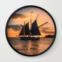 Sunset Sail and Plane Wall Clock