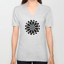 Black Flower Design Unisex V-Neck