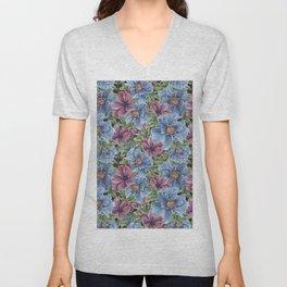 Hibiscus Flowers on Chalkboard Unisex V-Neck