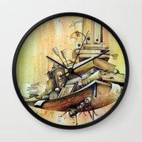 school Wall Clocks featuring school by Andreas Derebucha