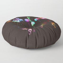 Rainbow Flamingos Floor Pillow