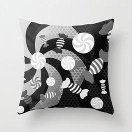 Black and White Sugar Crush Throw Pillow