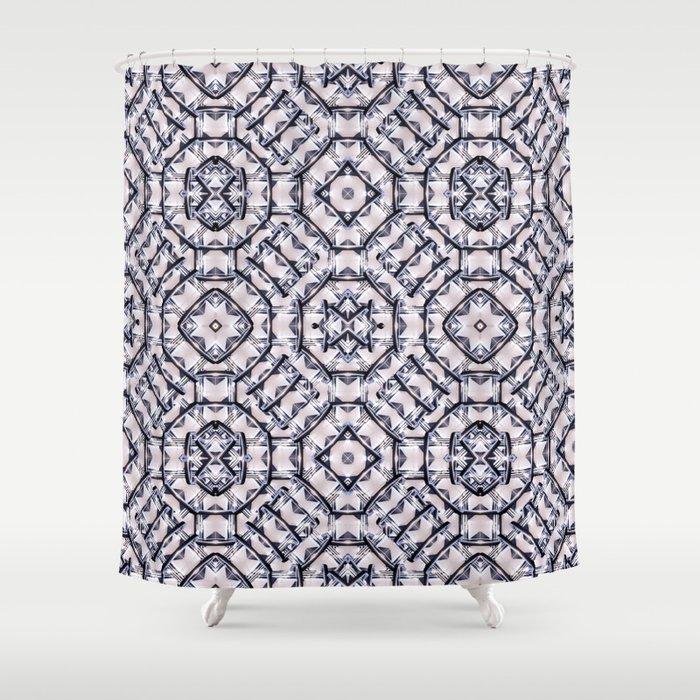 Futuristic Geometric Pattern Shower Curtain