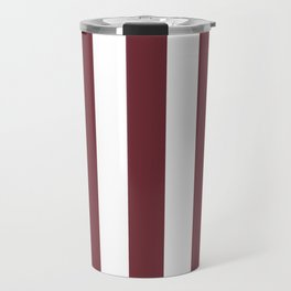 Puce red purple - solid color - white vertical lines pattern Travel Mug