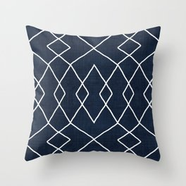 Brook in Navy Blue Throw Pillow