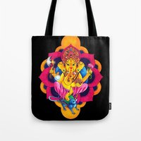 ganesh Tote Bags featuring Ganesh by missfortunetattoo
