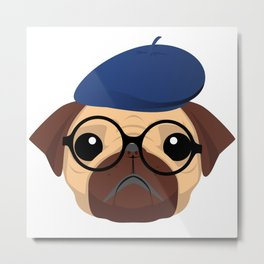 Cute Artistic Pug Puppy Lover Glasses  Metal Print