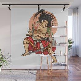 Japanese samurai drawings illustration Wall Mural
