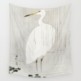 Egret standing in the rain - Vintage Japanese Woodblock Print Wall Tapestry