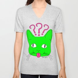 """Heckin Confused Derp Cat V.2"", by Brock Springstead Unisex V-Neck"