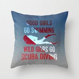 Wild girls go scuba diving Throw Pillow