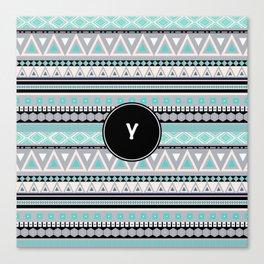 Monogram Tribal Pattern *Y* Canvas Print