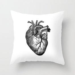 Vintage Heart Anatomy Throw Pillow