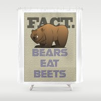 dwight Shower Curtains featuring Bears Eat Beets by Alex Dutton