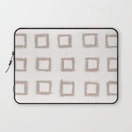 Square Stroke Dots Nude on White Laptop Sleeve