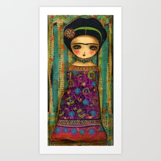 Frida In A Purple And Blue Dress Art Print