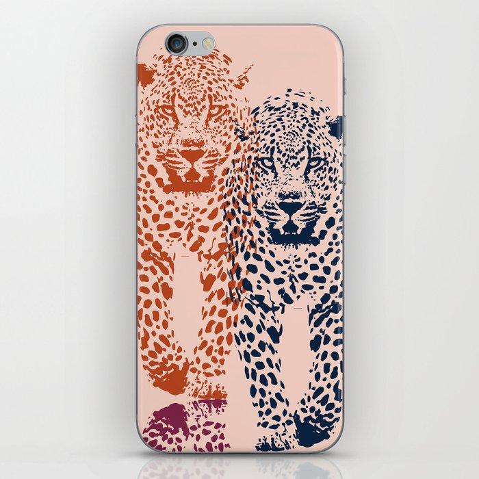 Kitten Club - Navy, Orange & Purple Leopard Print by Kristen Baker iPhone Skin