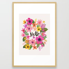 Hello floral typography Framed Art Print