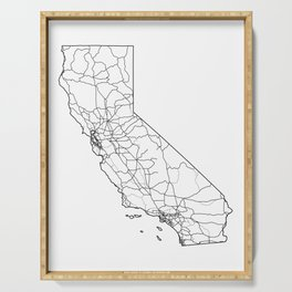 California White Map Serving Tray