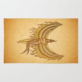 Isis, Goddess Egypt with wings of the legendary bird Phoenix Rug