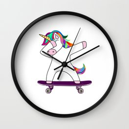 Dabbing Unicorn Skateboard Skating Skater Rainbow Skateboarding Wall Clock