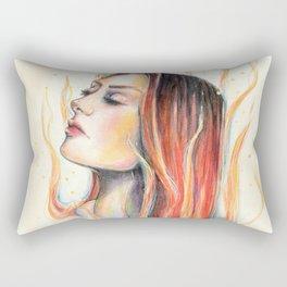 """""""Blaze"""" Fire spirit Watercolour portrait Rectangular Pillow"""