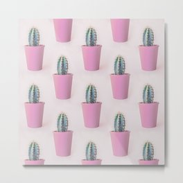 Single Cactus Pot in soft pastel Colors Metal Print