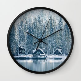 Winter's Cottage (Color) Wall Clock