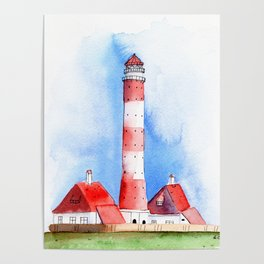 Lighthouse Watercolor Painting Poster