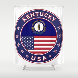 Kentucky, Kentucky t-shirt, Kentucky sticker, circle, Kentucky flag, white bg Shower Curtain