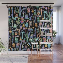 Nocturnal lush garden - Dreamy cacti and succulents plants Wall Mural