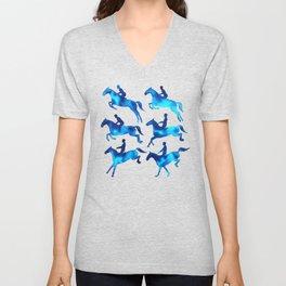 Watercolor Showjumping Horses (Blue) Unisex V-Neck