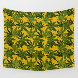 Cannabis Leaf - Gold Wall Tapestry